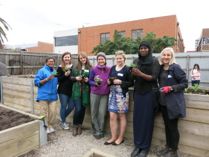 Isabelle (3rd from the left) with the team from the Footscray FOODpath community garden